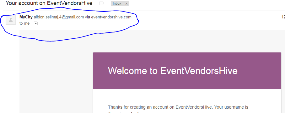 how to change the sender details in welcome email after registration